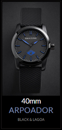 Amazuna Arpoador Watch  - Black + Blue - 40mm