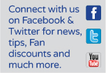 Connect with us on Facebook and Twitter for news, tips, fan discounts and much more.