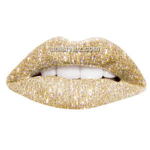 Gold Glitter Temporary lip Tattoo