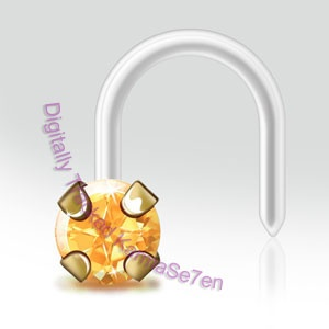 Honey Topaz BioFlex Nose Stud with Bioflex Stem Petite