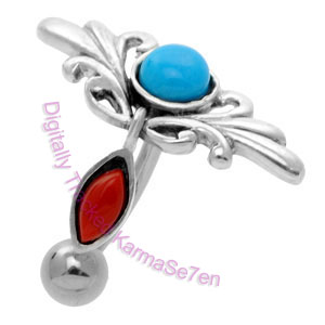 Tribal - Turquoise & Coral  - Belly Bar