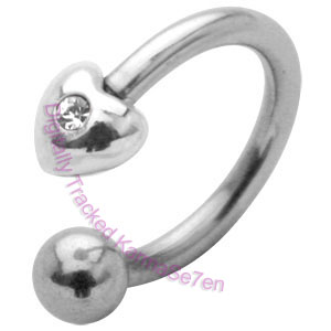 Heart Charm - Clear - Belly Ring