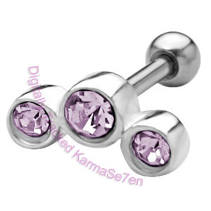 Small Jewel Strip - Lavender Upper Ear Stud