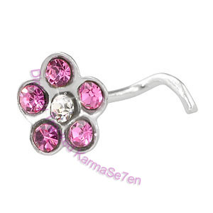 Jewelled Flower - Pink  - Silver Nose Stud
