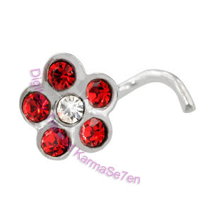 Jewelled Flower - Red  - Silver Nose Stud