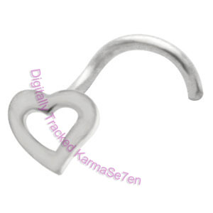 Open Heart  - Silver Nose Stud