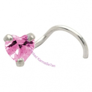 Claw Set Heart Jewel - Pink  - Silver Nose Stud