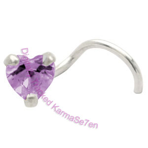 Claw Set Heart Jewel Purple  - Silver Nose Stud