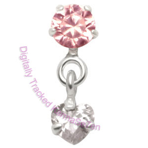 Jewel & Heart - Pink-Crystal - Tragus Dangling Ear Stud