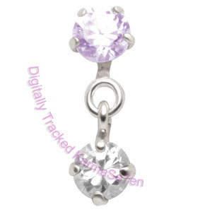 Small Jewels - Lav-Crystal - Tragus Dangling Ear Stud