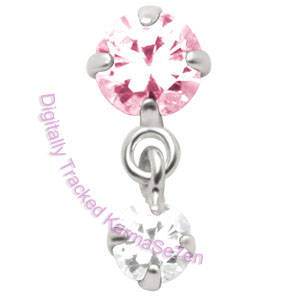Jewelled - Pink-Crystal - Tragus Dangling Ear Stud