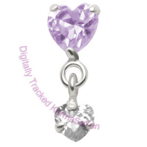 Hearts - Lav-Crystal - Tragus Dangling Ear Stud
