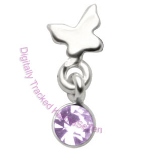 Butterfly - Lavender - Tragus Dangling Ear Stud