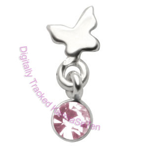 Butterfly - Pink - Tragus Dangling Ear Stud