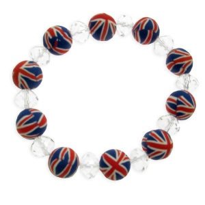 Union Jack and Glass Bead Bracelet