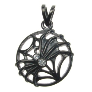 Spider on Cobweb with 2 CZ Balck Steel Pendant
