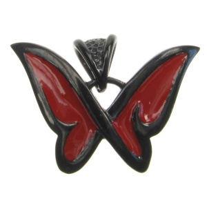 Butterfly with Red Enamel Wings Steel Pendant