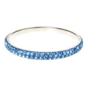 Blue Crystal Bangle - Two Rows