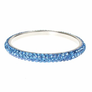 Blue Crystal Bangle - Three Rows