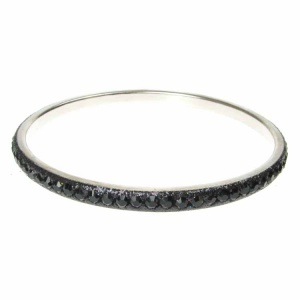 Black Crystal Bangle - Single Row