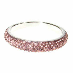 Baby Pink Crystal Bangle - Five Rows