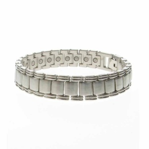 Magnetic Brushed Silver Alloy Square Link Bracelet