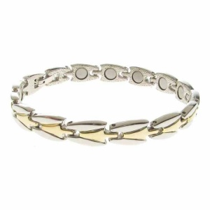Magnetic Alloy High Polish Silver and Gold Bracelet