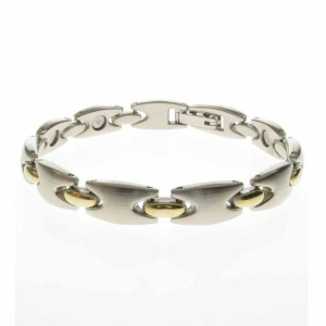 Magnetic Brushed Silver and Gold Alloy Link Bracelet