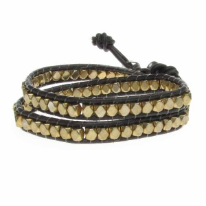 Childrens Chocolate Brown Double Row Wrap Bracelet