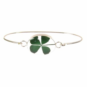 Four Leaf Clover Oval Silver Bangle