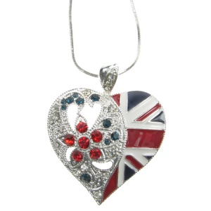 Union Jack Heart Pendant and Chain