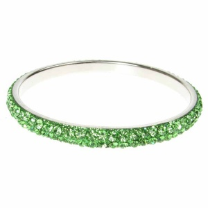 Green Crystal Bangle - Two Rows