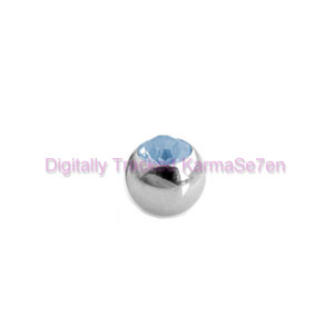 Surgical Steel Threaded Jewelled Ball - Aqua
