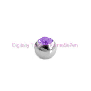 Surgical Steel Threaded Jewelled Ball - Purple
