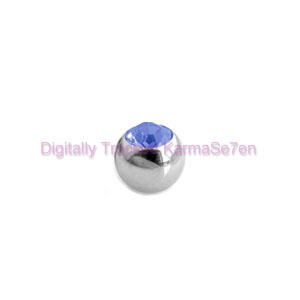 Surgical Steel Threaded Jewelled Ball - Blue