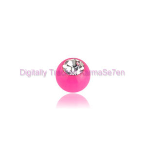 Pink Acrylic Jewelled Threaded Ball