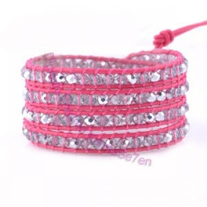 Four Row Beaded Wrap Bracelet - Pink Glitter