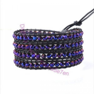 Four Row Beaded Wrap Bracelet - Purple Glimmer