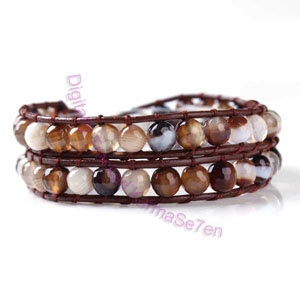 Two Row Beaded Wrap Bracelet - Natural Brown