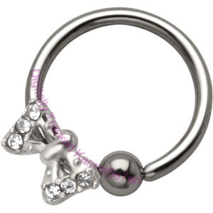 Jewelled Bow - Silver Charm BCR