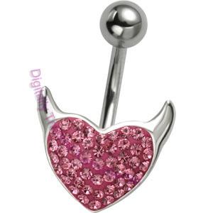 Pink Crystal Devil Heart Belly Bar