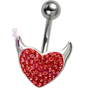 Red Crystal Devil Heart  - Belly Bar