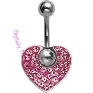 Pink Crystal Heart - Belly Bar