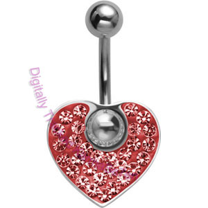 Red Crystal Heart - Belly Bar