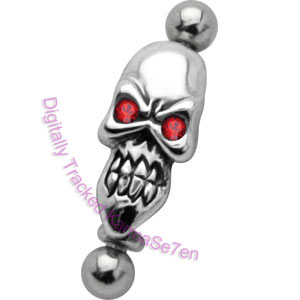 Skull - Eyebrow Bar with Silver Charm Shield