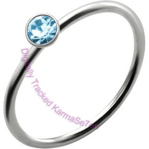 Aqua Jewel - Silver Nose Ring