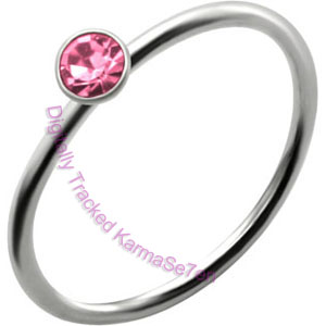 Pink Jewel - Silver Nose Ring