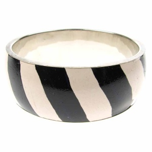Black and White Striped Bangle