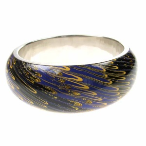 Blue Black and Gold Oil Effect Fashion Bangle