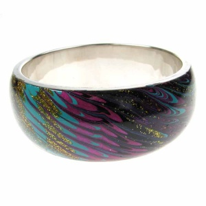 Purple Black and Gold Oil Effect Fashion Bangle